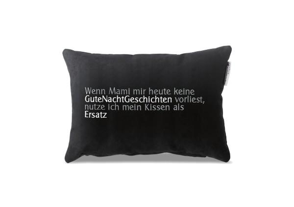 """Typo-Design-Kissen """"Gute Nacht Geschichten Ersatz"""""""