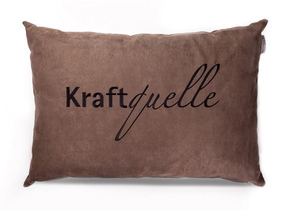 """Typo-Design-Kissen """"Kraftquelle"""" taupe"""