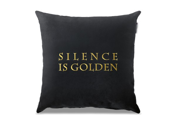 "Typo-Design-Kissen ""SILENCE IS GOLDEN"""