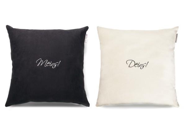 """Typo-Design-Kissenset """"Meins! Deins!"""""""