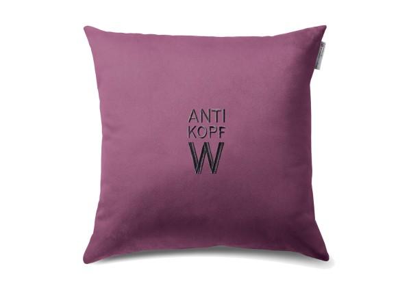 """Typo-Design-Kissen """"Anti Kopf W"""""""