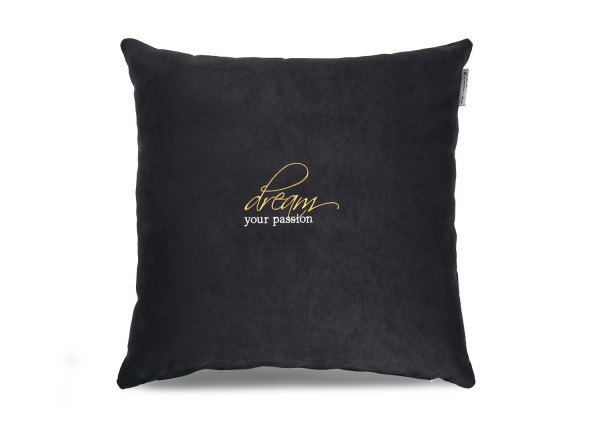 "Typo-Design-Kissen ""dream your passion"" schwarz"